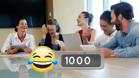 Business people laughing in the office and face with tears of joy emoji 4k Animation