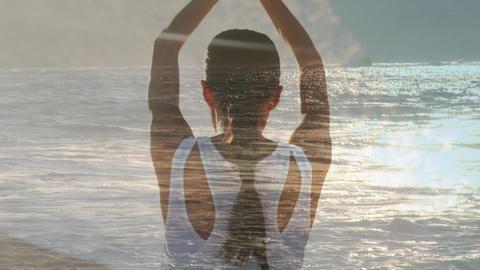 Woman doing yoga beside the ocean Animation