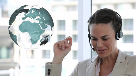 Call centre agent beside globe Animation