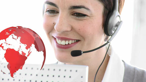 Call centre agent happily tacking to a client from abroad Animation