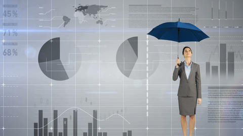 Businesswoman holding an umbrella over her head 4k Animation