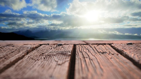 Wooden plank deck with a view of the sky Animation