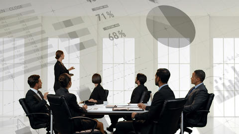 Businesswoman presenting to a group of business people Animation