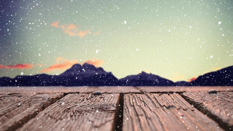Wooden plank with a view of mountains Animation