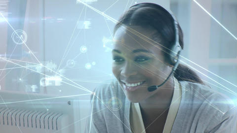 Call centre agent talking to a client Animation