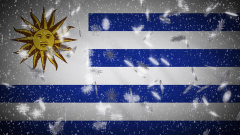 Uruguay flag falling snow loopable, New Year and Christmas background, loop Animation