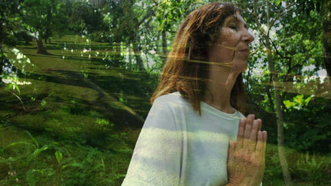 Woman meditating with nature 4k Animation