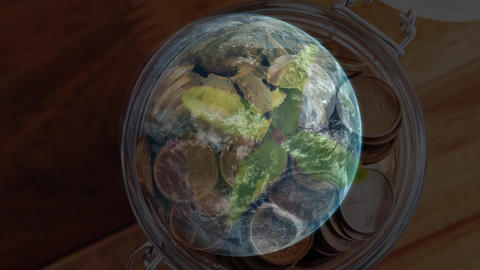 Pot with a digital rotating globe Animation