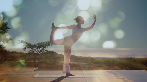 Woman doing yoga outdoors Animation