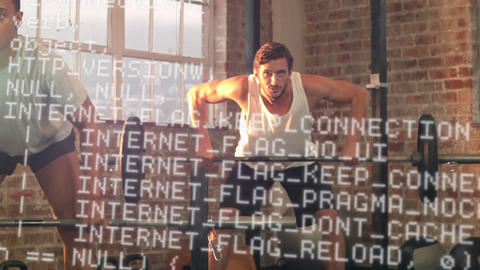 Interface codes and men lifting weights Animation