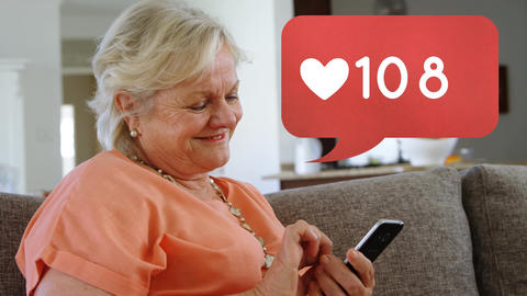 Grandmother browsing on a phone Animation