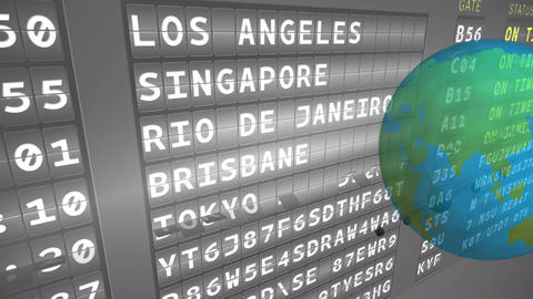 Airport departure schedule board and a globe Animation