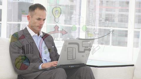 Businessman creating a process flowchart Animation