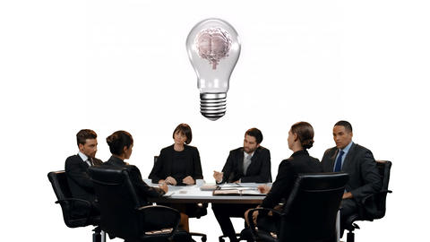 Business people having a meeting with a brain inside a light bulb in the middle of the table Animation