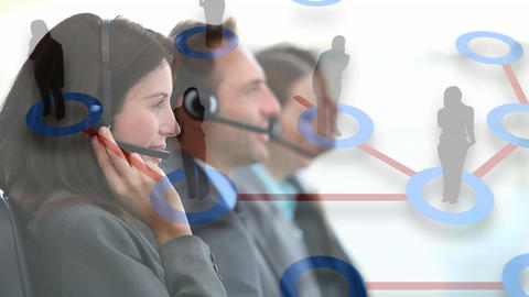Group of call centre agents taking calls Animation