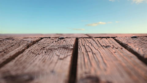 Wooden deck with a view of the skies Animation