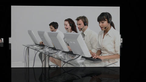 Digital screen with call centre agents Animation