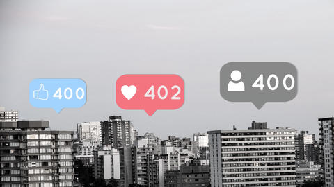 Tall buildings social media icons Animation