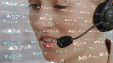 Female call centre agent working and stock market numbers Animation