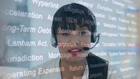 Female call centre agent and random words Animation