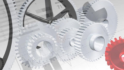 Cogs and wheels with statistics Animation