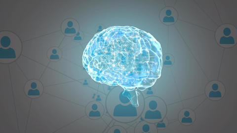 Brain with a network of profile icons Animation