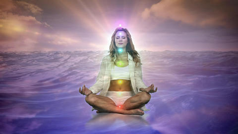 Woman meditating on water Animation