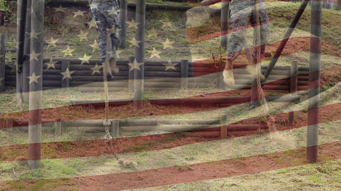 American soldiers climbing ropes Animation
