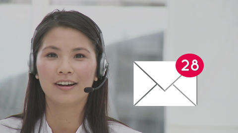 Call centre agent receiving messages Animation