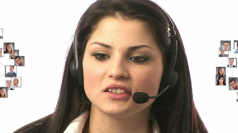 Digital composite of profiles of men and women and a call centre agent Animation