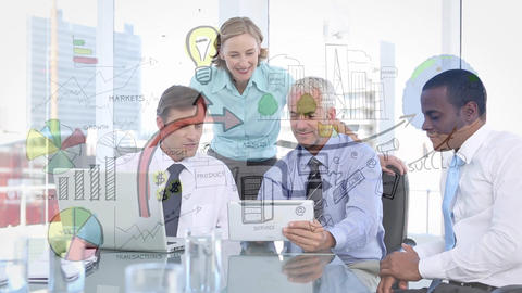 Business people looking at plans Animation
