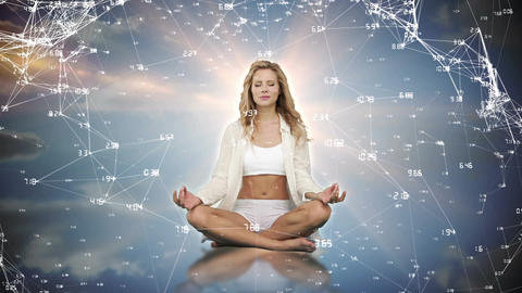 Woman meditating in the sky Animation