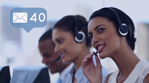 Call centre agents taking messages Animation