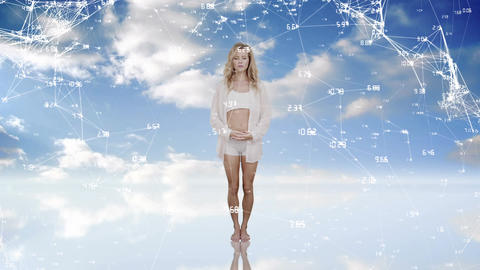 Woman meditating on the sky Animation