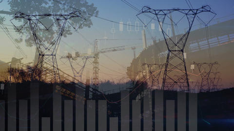 Transmission towers with graphs and statistics 4k Animation
