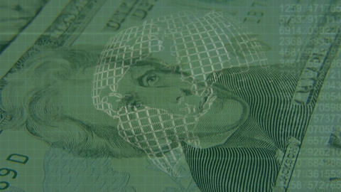 Dollar bills with a rotating globe Animation