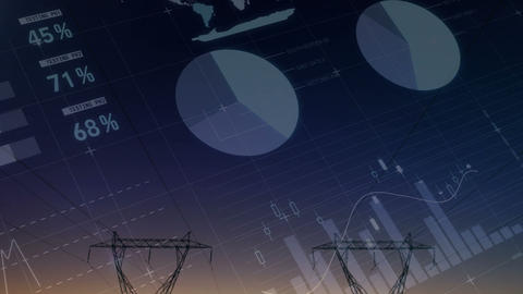 Graphs and statistics with transmission towers 4k Animation