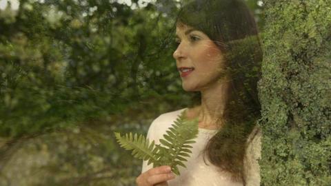 Woman smelling a leaf Animation