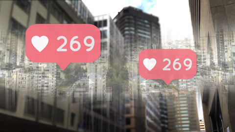 City with heart icons and numbers counting up 4k Animation