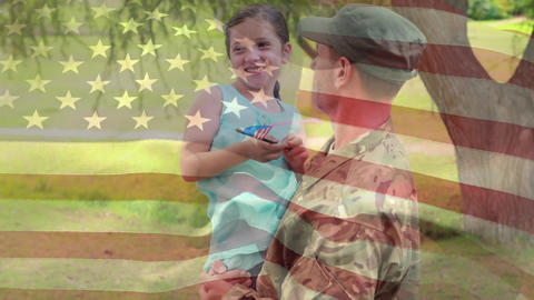 American soldier holding his daughter Animation