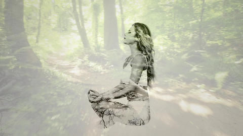 woman meditating with the forest Animation