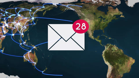 Emails from all over the world Animation