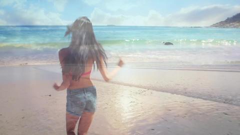 Woman running towards the beach Animation