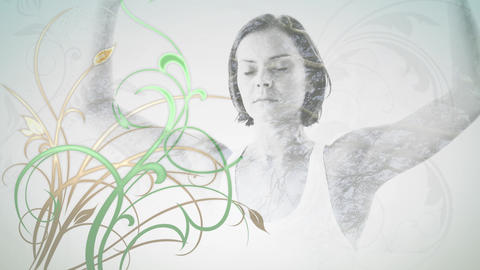 Woman meditating with flowers Animation