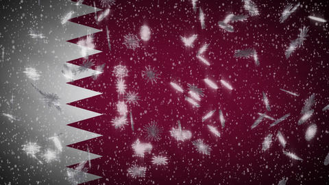 Qatar flag falling snow loopable, New Year and Christmas background, loop Animation