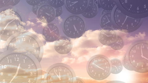 Sky filled with clocks Animation
