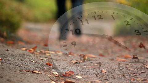 White clock and fallen leaves Animation