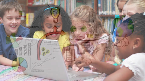 Children watching on a laptop Animation