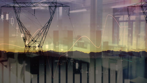 Wide view of transmission towers past sunset 4k Animation