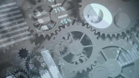 Series of gears and cogs running Animation